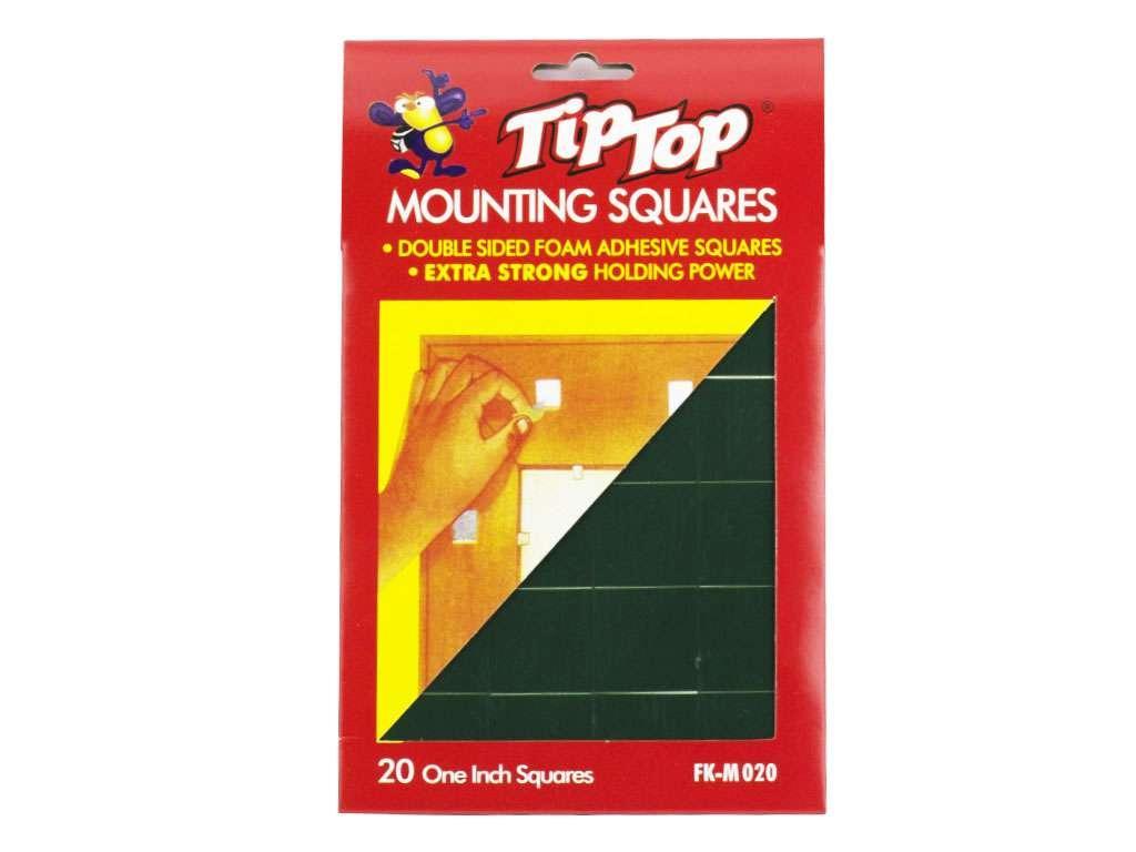 Клейкие монтажные квадраты TipTop, 2,5 х 2,5 см, 20 шт/уп (вспененная основа)