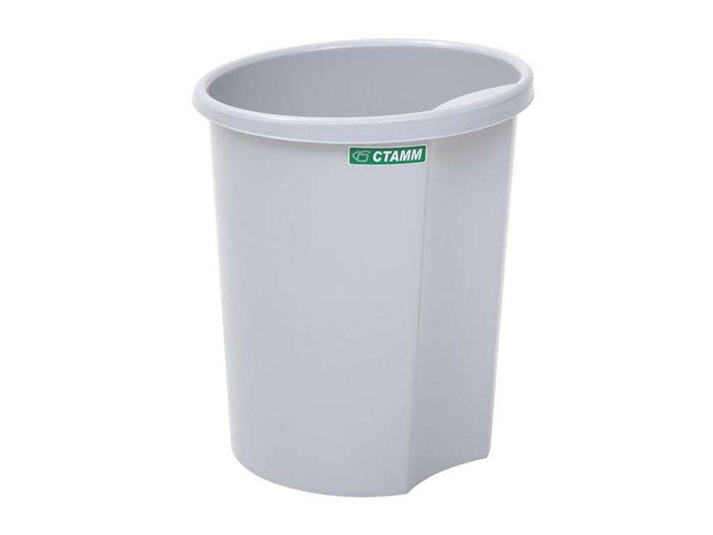 Корзина для мусора СТАММ 12 литров, цельная, серая