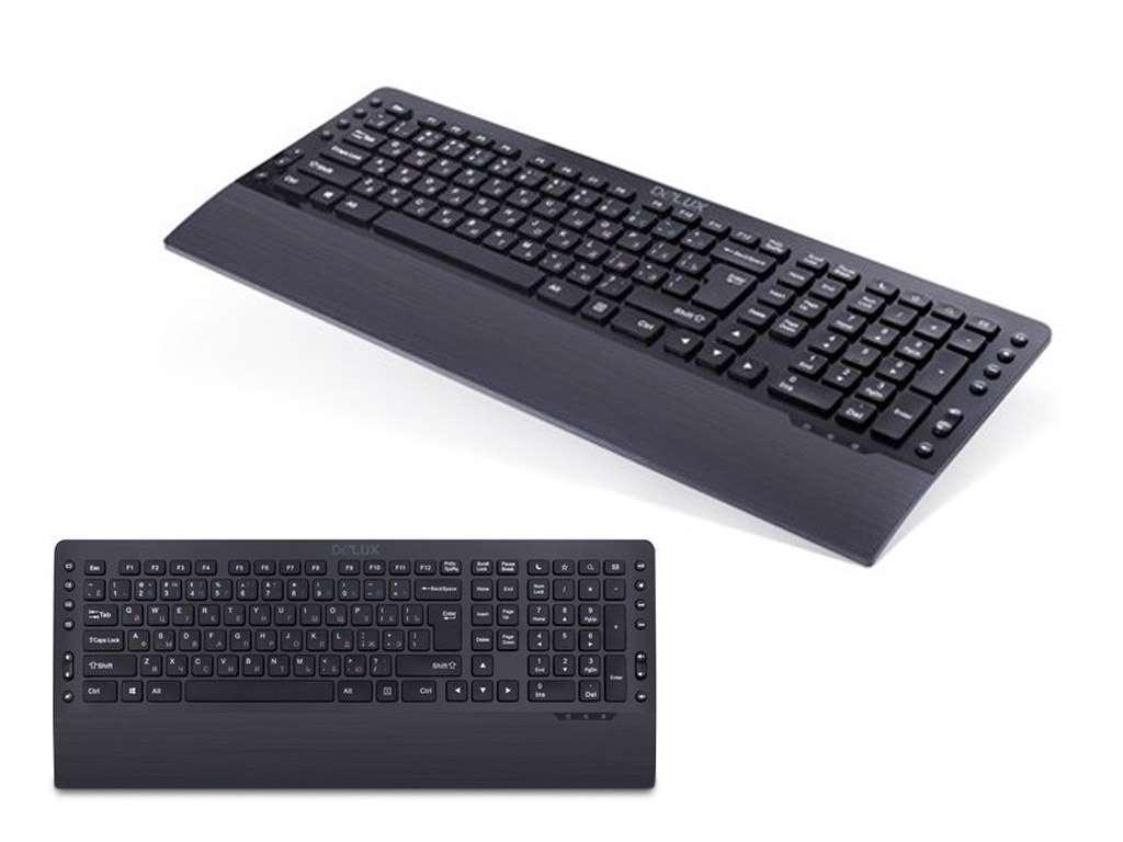 Клавиатура Delux DLK-05UB черная, USB, Анг/Рус/Каз