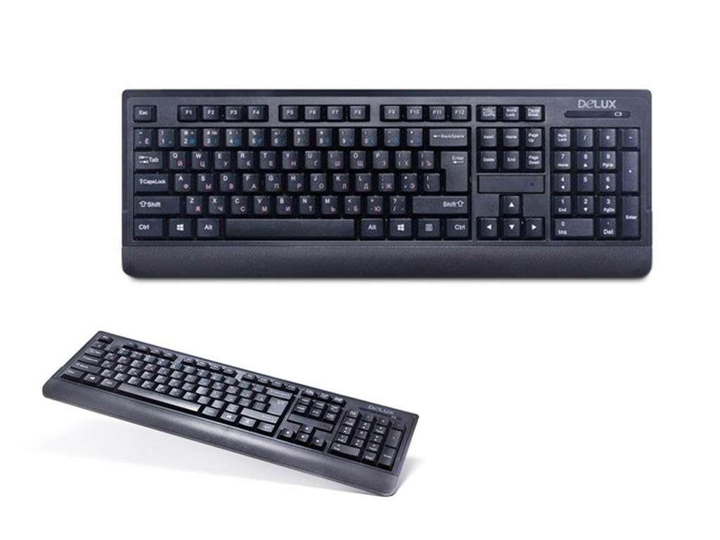 Клавиатура беспроводная Delux DLK-6010GB черная, Анг/Рус/Каз