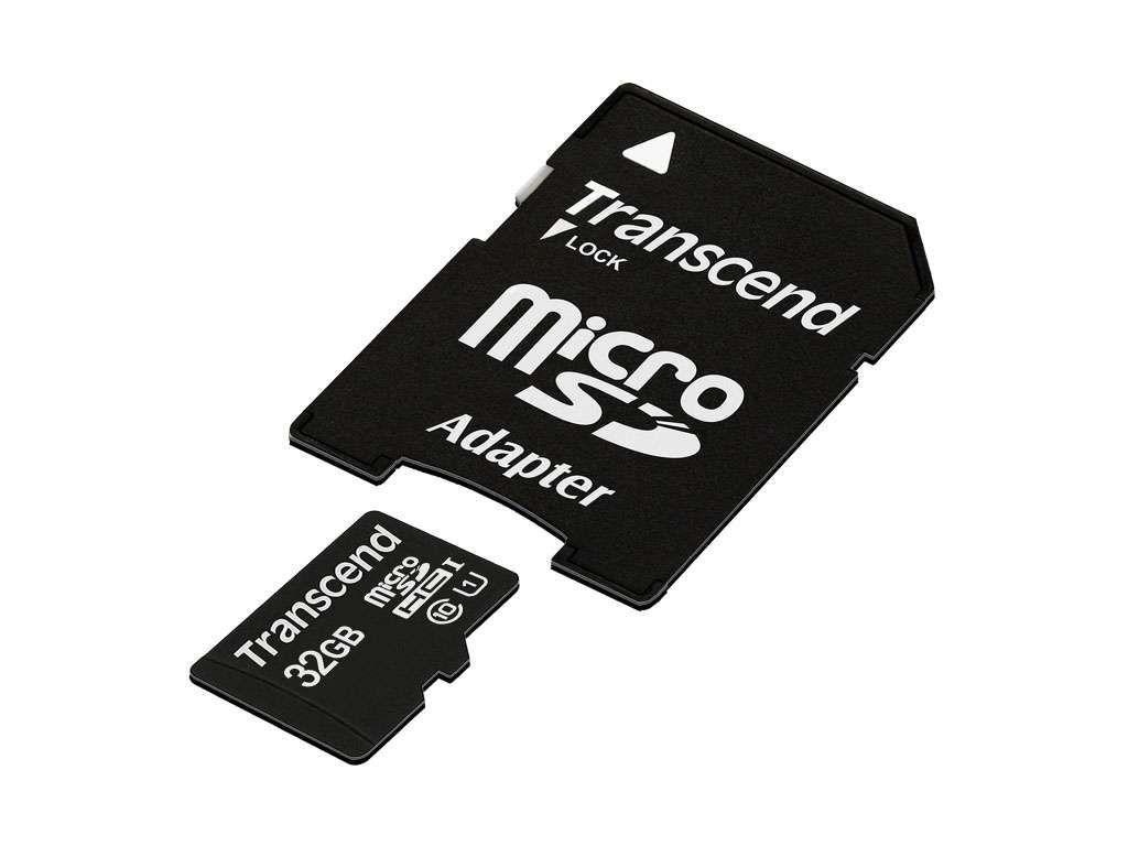 Карта памяти Transcend microSD 32Gb Class10 + адаптер SD