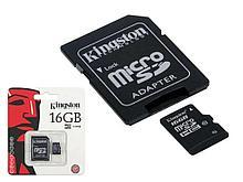 Карта памяти Kingston microSD 16GB Class 10 + адаптер для SD