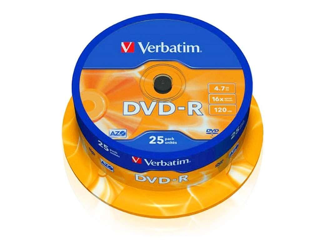 Диск DVD-R Verbatim 16X 4.7 GB (25 штук в упаковке)