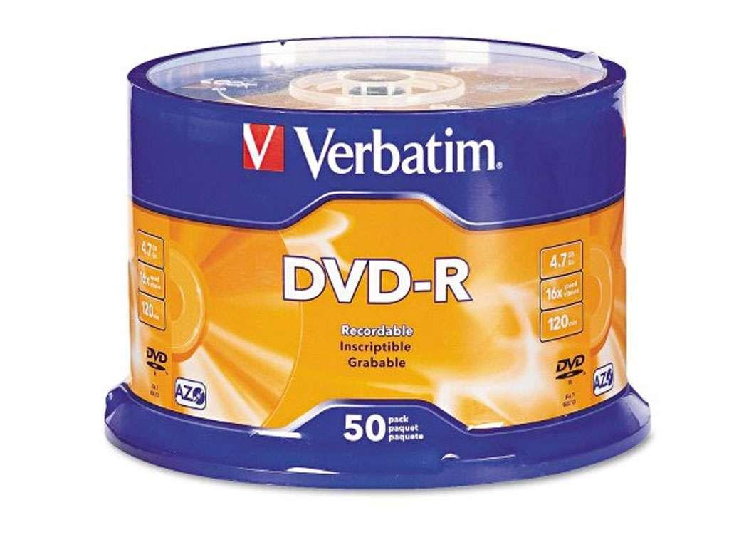Диск DVD-R Verbatim 16X 4.7 GB (50 штук в упаковке)