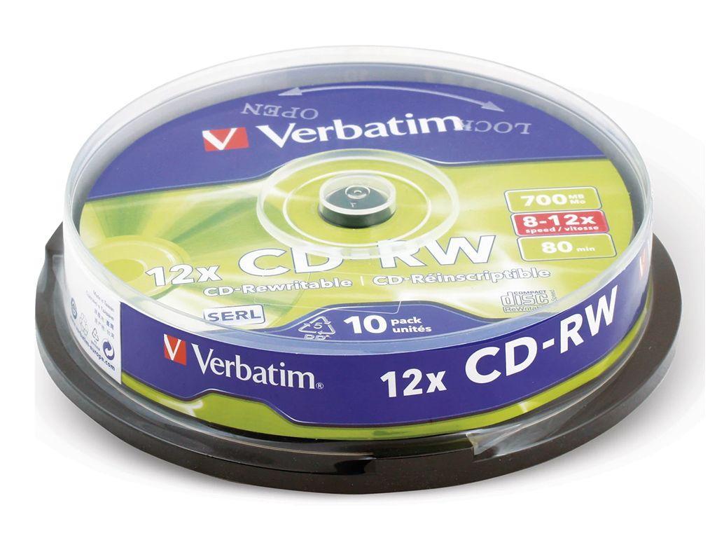 Диск CD-RW Verbatim  700Mb 10-12х (10 штук в упаковке)