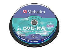 Диск DVD-RW Verbatim 4X 4.7 GB (10 штук в упаковке)