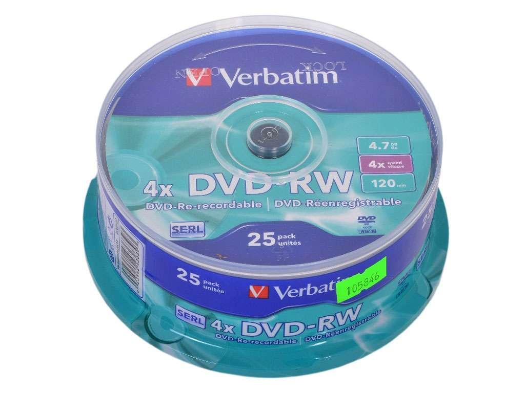 Диск DVD-RW Verbatim 4X 4.7 GB (25 штук в упаковке)