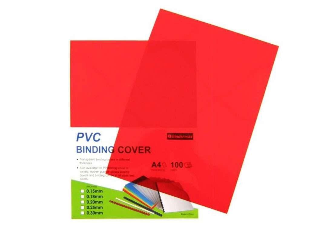Обложка для переплета Bindermax, А4 пластиковая, 200 мкм, прозрачно-красная