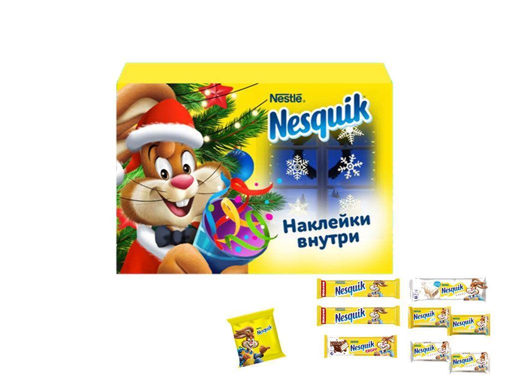 """Новогодний набор """"NESQUIK"""" светящиеся наклейки внутри, 158гр"""