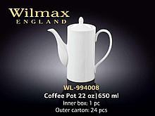 """Чайник кофейный """"Wilmax"""", 650 мл, фарфор, белый"""