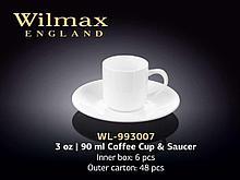 "Чашка кофейная + блюдце ""Wilmax"", 90 мл, фарфор, белая"
