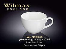 "Кружка ""Wilmax"" Jumbo Mug, 420 мл., фарфор, белая"