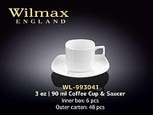 "Чашка кофейная + блюдце ""Wilmax"", 90 мл., фарфор, белая"