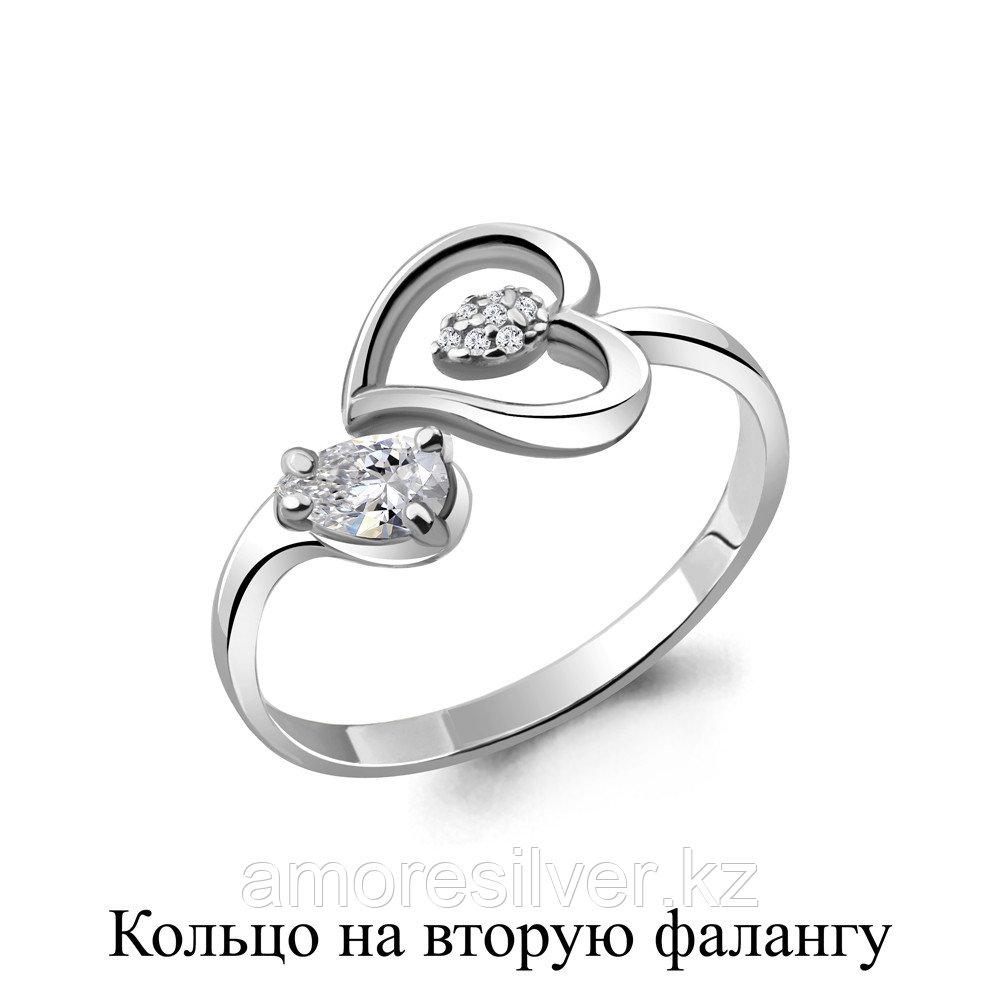 Кольцо AQUAMARIN серебро с родием, фианит 67514А.5