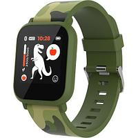 Teenager smart watch, 1.3 inches IPS full touch screen, green plastic body, IP68 waterproof, BT5.0,