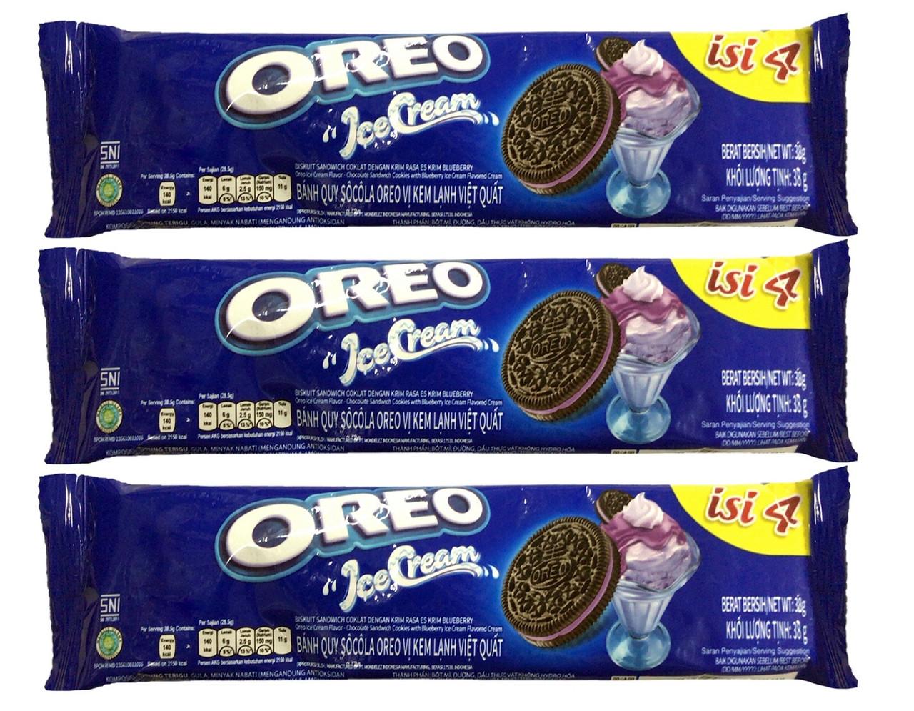 Печенье Oreo Черничное мороженое 38гр 4шт (12шт-упак)