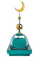 """Купол на мазар """"ШАХ"""". Зеленый с орнаментом и золотым объемным полумесяцем d-230 с 2-мя шарами. 39,5 х 39,5 см."""