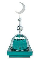 """Купол на мазар """"ШАХ"""". Зеленый с орнаментом и плоским полумесяцем d-230 серебро с 2-мя шарами. 39,5 х 39,5 см."""