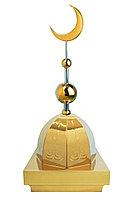 """Купол на мазар """"ШАХ"""". Золото с орнаментом и золотым объемным полумесяцем d-230 с 2-мя шарами. 39,5 х 39,5 см."""