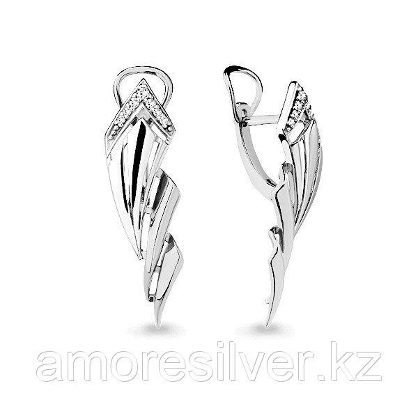 Серьги Аквамарин серебро с родием, фианит 45814А.5