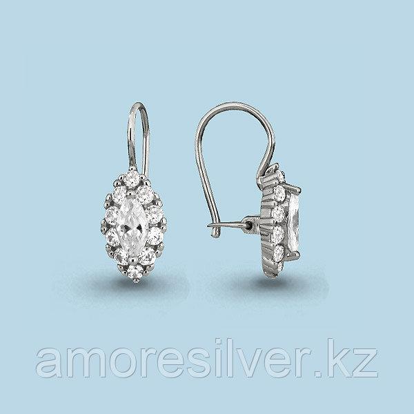 Серьги Аквамарин серебро с родием, фианит 40969А.5
