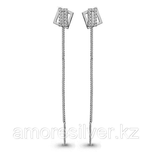 Серьги Aquamarine серебро с родием, фианит, квадрат 45485А.5