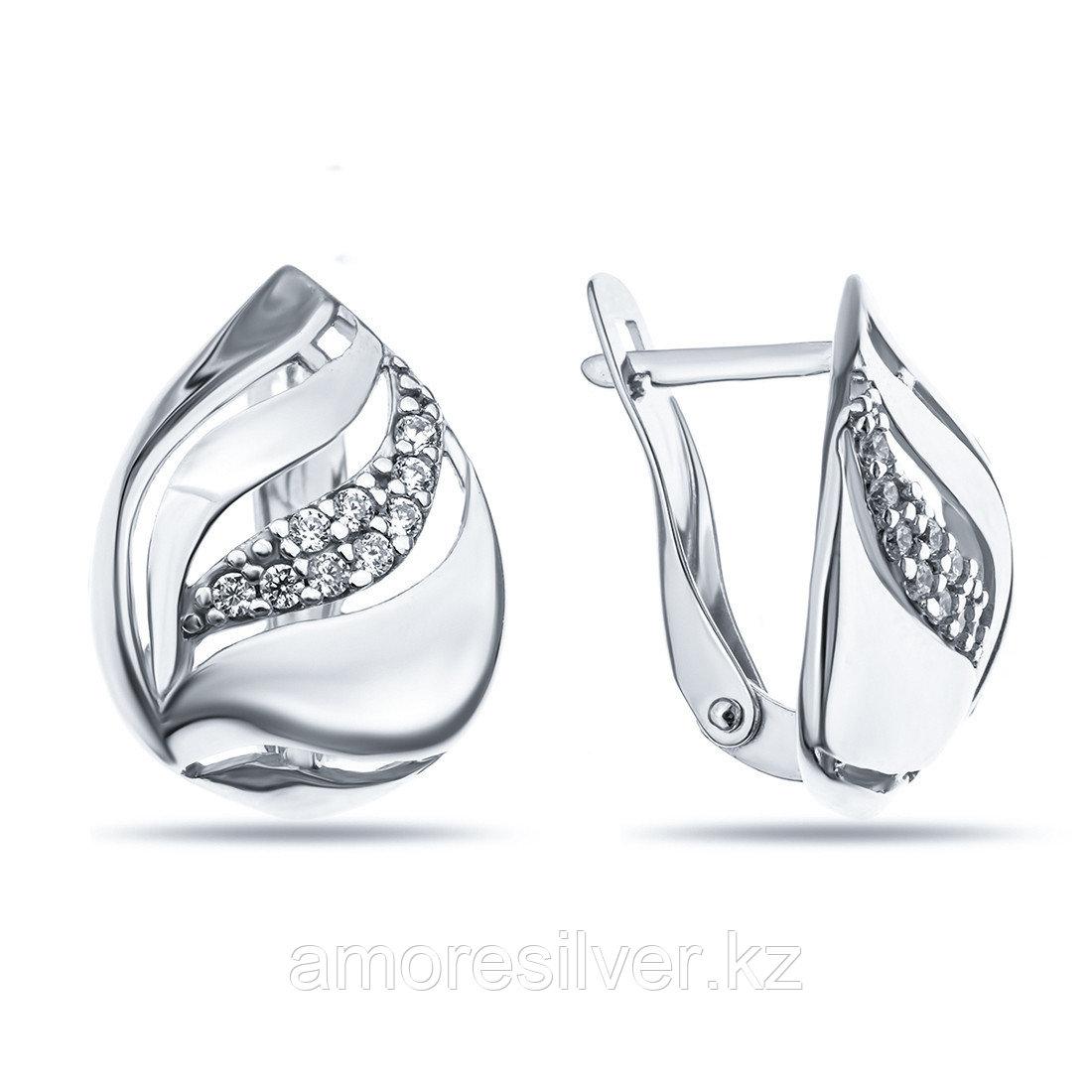 Серьги Аквамарин серебро с родием, фианит, геометрия 45760А.5