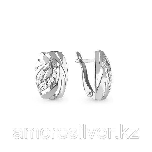 Серьги Аквамарин серебро с родием, фианит, геометрия 45768А.5