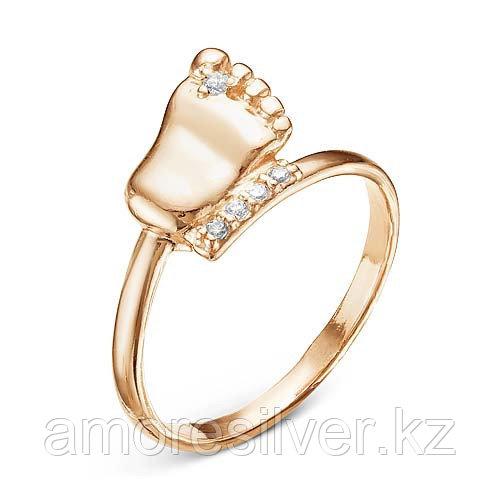 Кольцо Красная Пресня серебро с позолотой, фианит, символы 2388129