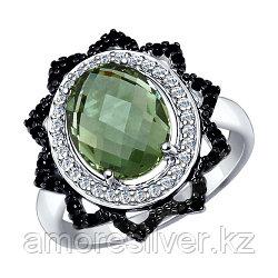 """Кольцо SOKOLOV серебро с родием, кварц синт. фианит , """"halo"""" 92011278 размеры - 17,5 19"""