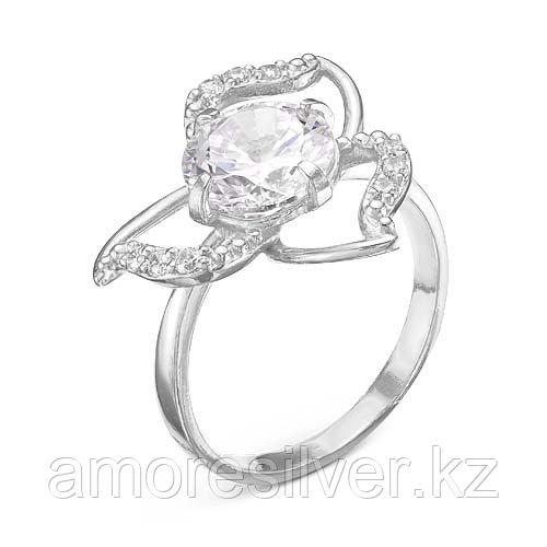 Кольцо Красная Пресня серебро с родием, фианит, флора 2388662Д
