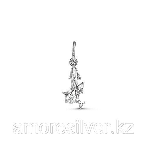 Подвеска Красная Пресня серебро с родием, фианит, фауна 5389298Д