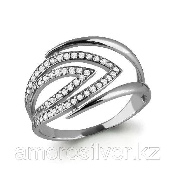 Кольцо Аквамарин серебро с родием, фианит, геометрия 64569А.5