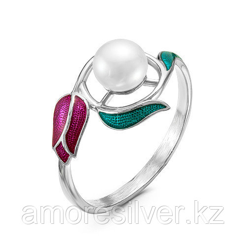 Кольцо Красная Пресня серебро с родием, флора 2339086Д