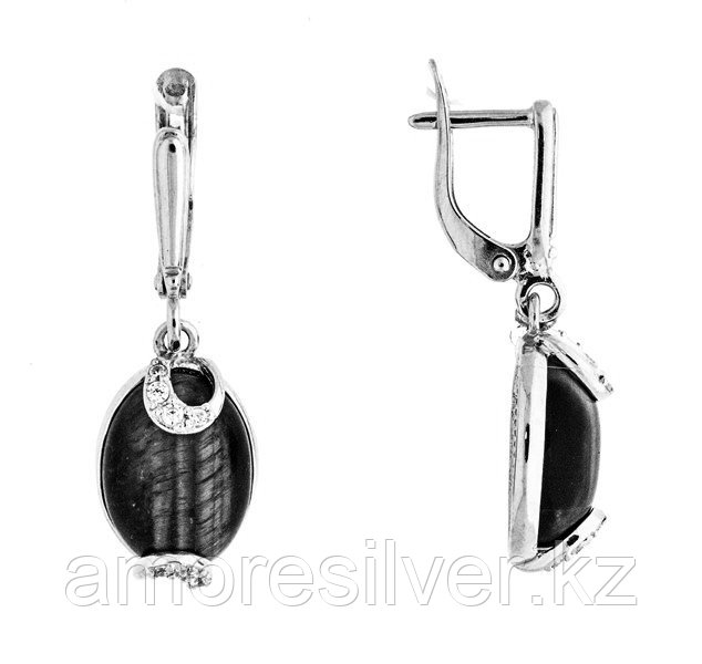 Серьги Приволжский Ювелир серебро с родием, лунный камень фианит, овал 351150