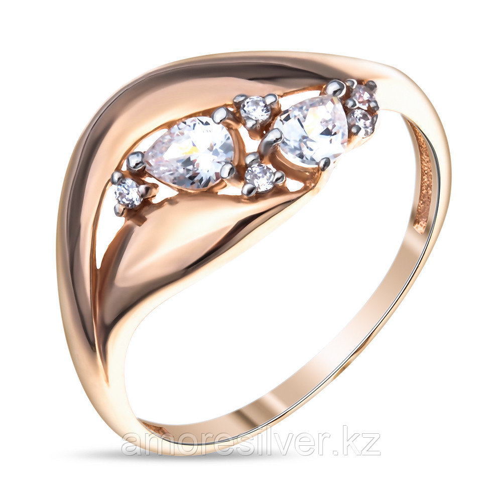 Кольцо Аквамарин серебро с позолотой, фианит, геометрия 64781А.6