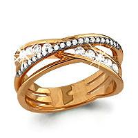 """Кольцо Аквамарин серебро с позолотой, фианит, """"линии"""" 63020А.6"""