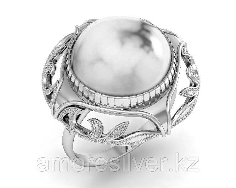 Кольцо Приволжский Ювелир серебро с родием, нефрит, круг 261246