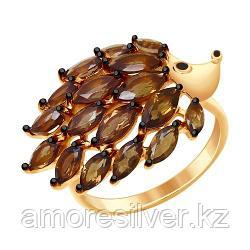 Кольцо SOKOLOV серебро с позолотой, раух-топаз эмаль, фауна 92011429 размеры - 16,5