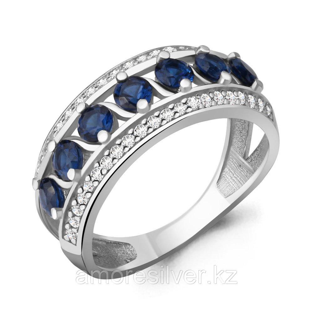 Кольцо Aquamarine серебро с родием, сапфир фианит, дорожка 64207Б.5