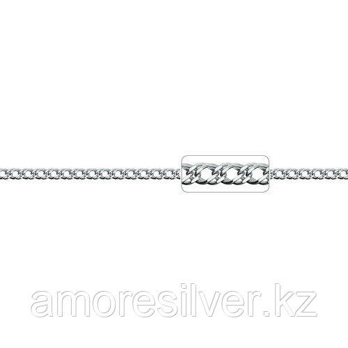 Цепь Адамант серебро с родием, без вставок, ромб двойной Ср925Р-106306045