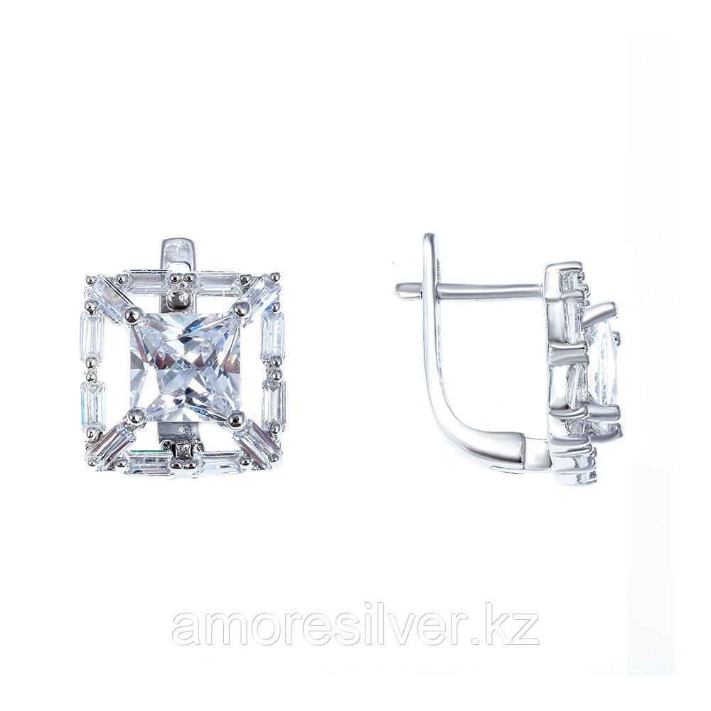 Серьги Teosa серебро с родием, фианит, квадрат BYNE476