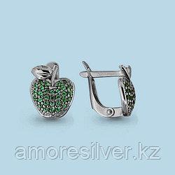Серьги Аквамарин серебро с родием, нано изумруд, флора 42570Г.5