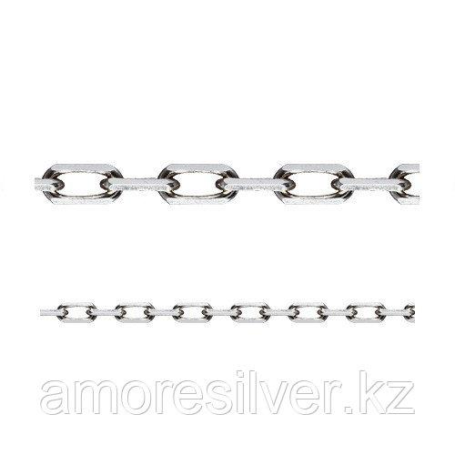 Цепь Адамант серебро с родием, без вставок, якорная Ср925Р-101006045