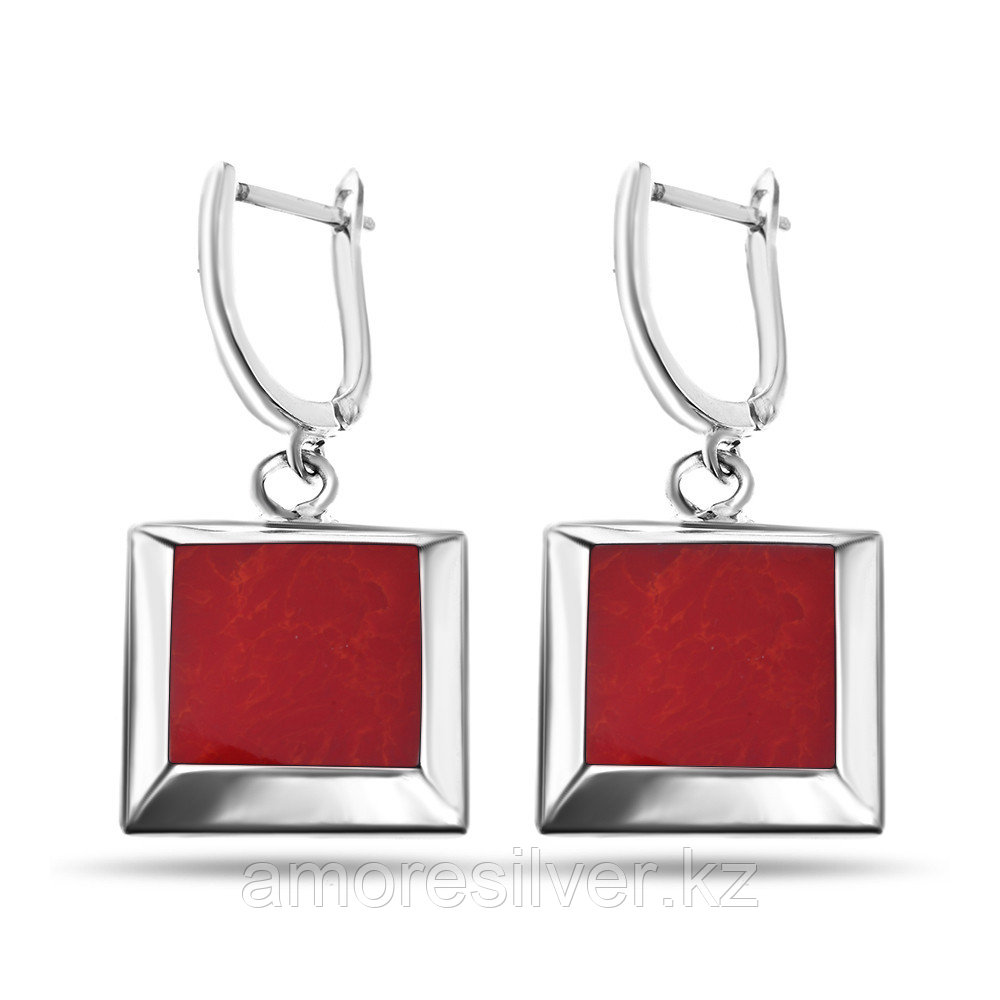 Серьги Teosa серебро без покрытия, коралл перламутр, квадрат JE20338-CR