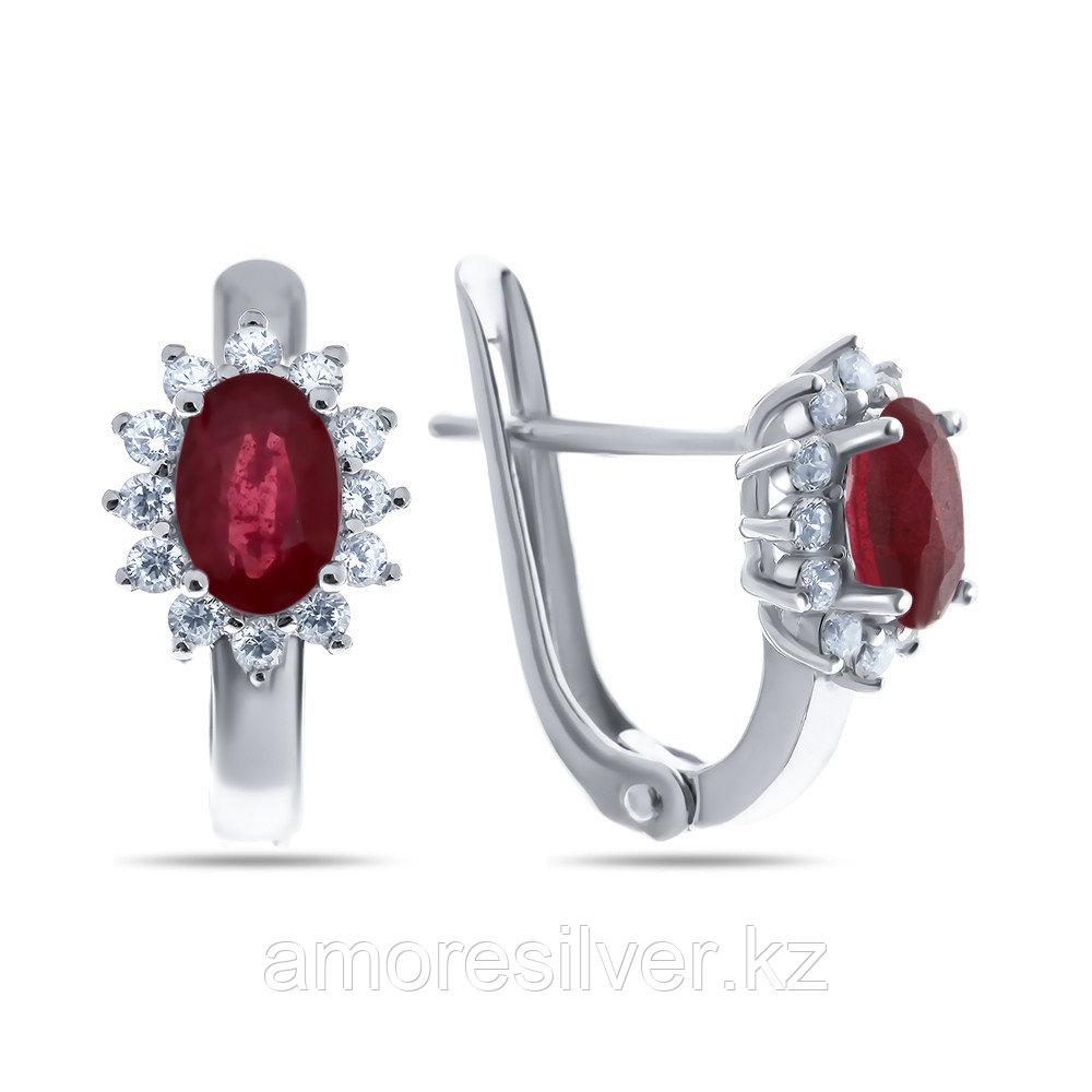 "Серьги Teosa серебро с родием, рубин фианит, ""halo"" E-DRGR00682-RB"
