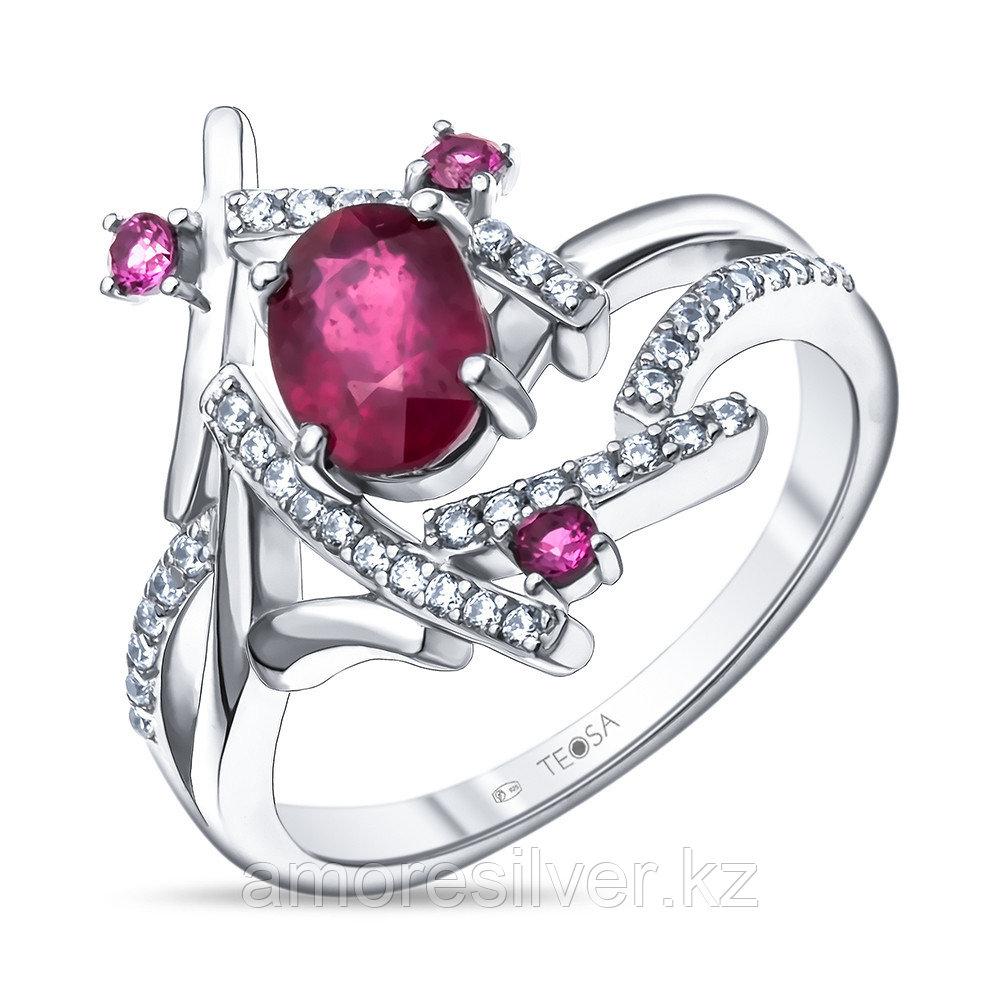 """Кольцо Teosa серебро с родием, рубин фианит, """"halo"""" R-DRGR00832-RB"""