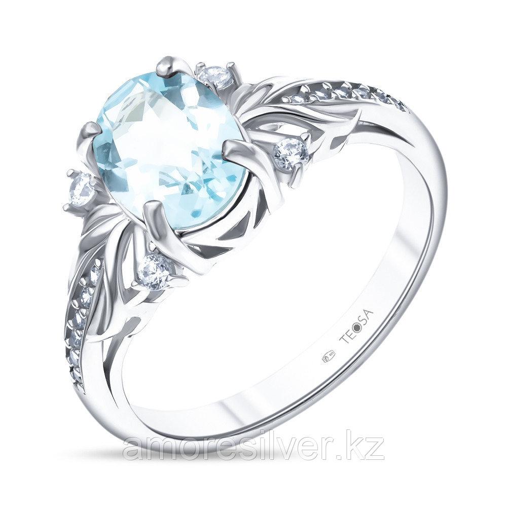 """Кольцо Teosa серебро с родием, топаз фианит, """"halo"""" R-DRGR00817-T"""