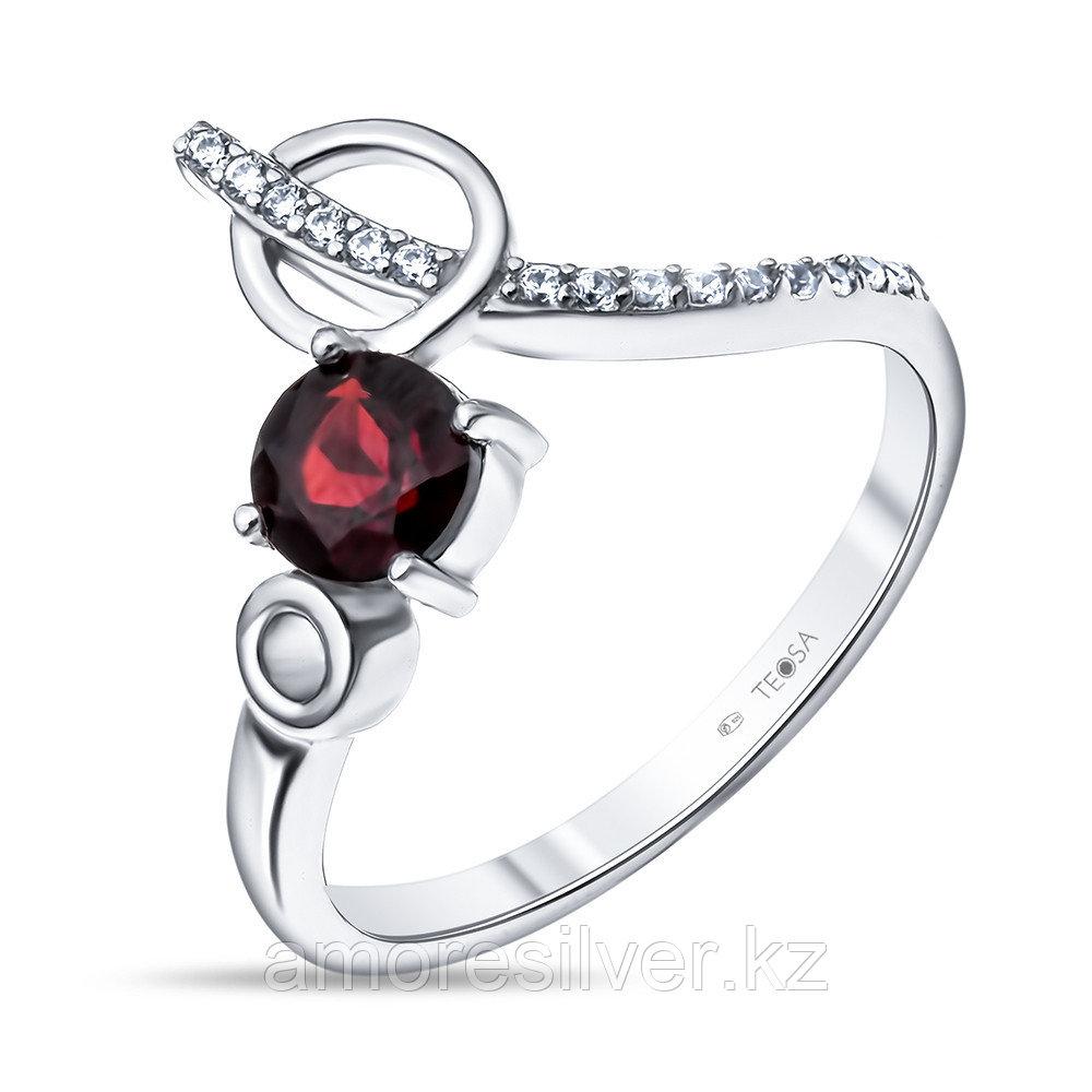 """Кольцо Teosa серебро с родием, гранат фианит, """"halo"""" R-DRGR00826-GR"""