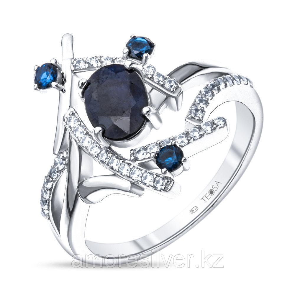 """Кольцо Teosa серебро с родием, сапфир фианит, """"halo"""" R-DRGR00832-SP"""